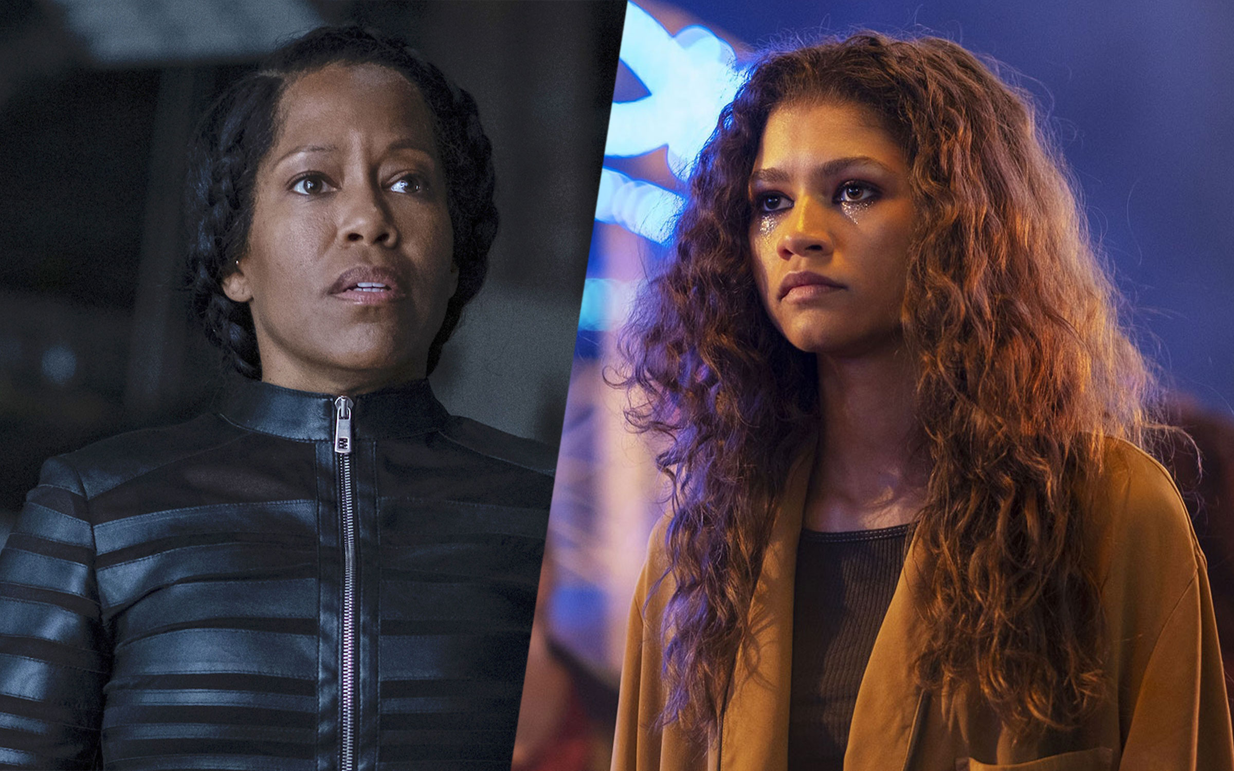 Regina King, a Black woman, wears all black and looks concerned; Zendaya, a young woman with loose curly hair, has glitter on her face and looks serious.