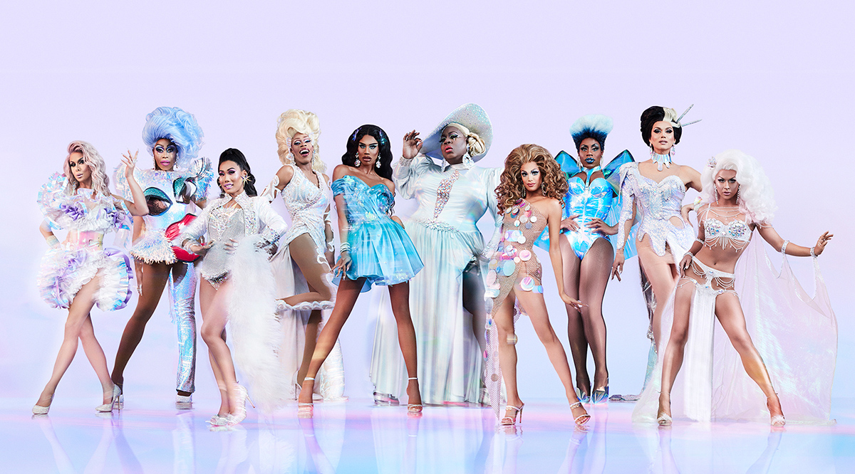 "The ten new contestants for ""RuPaul's Drag Race All Stars"" posing against a lavender background"