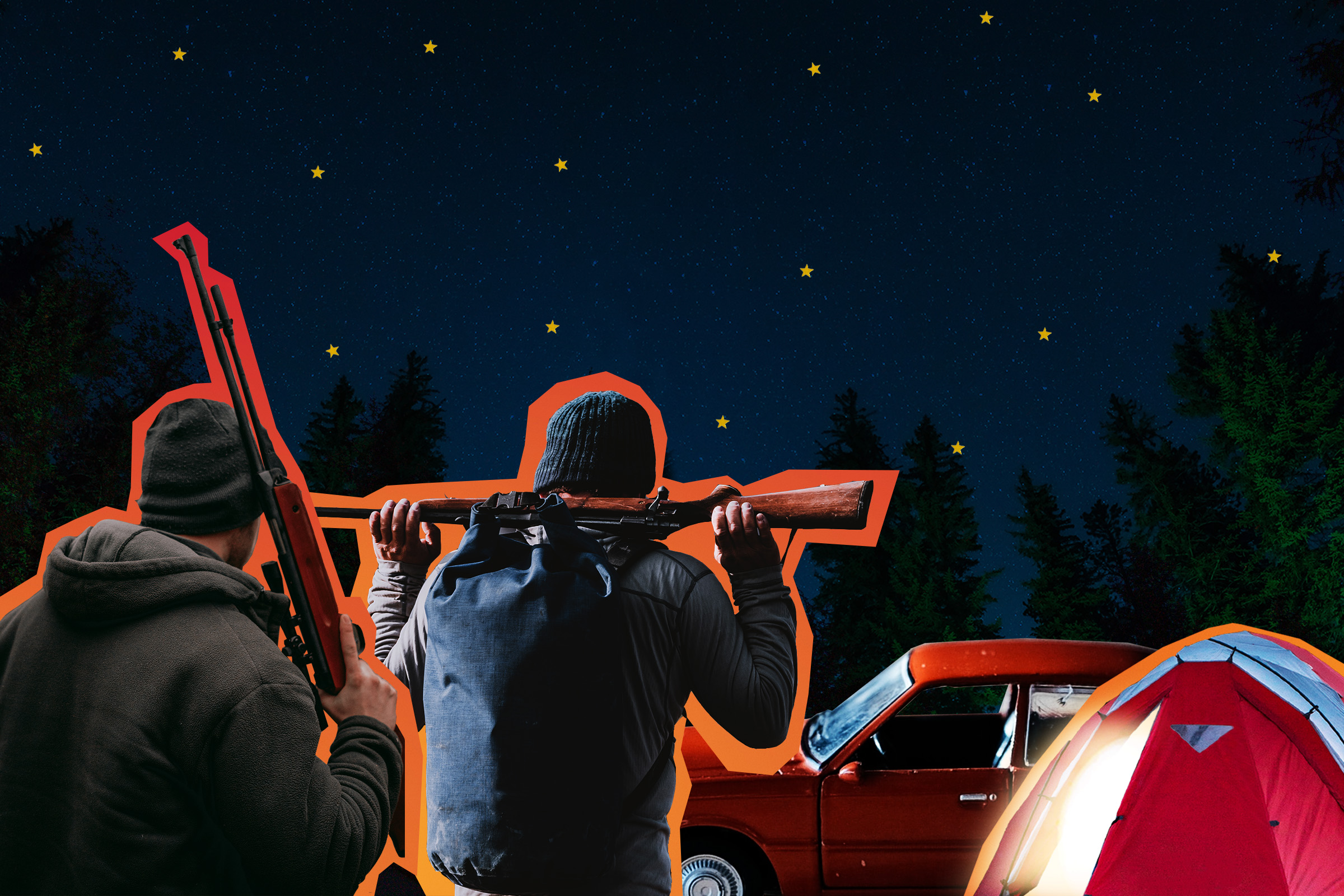 a collage of two white boys standing outside at night and holding rifles