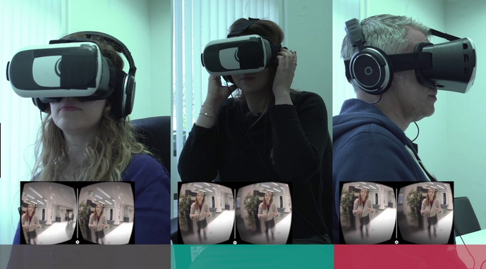 Split-screen view of three people wearing virtual-reality headsets