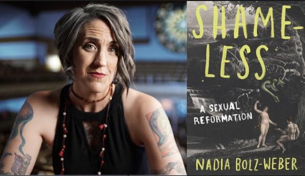 Nadia Bolz-Weber, left; cover of new book Shameless, right