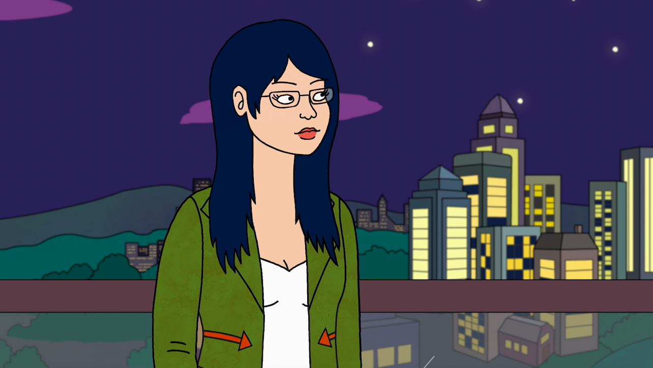 A photo of Bojack Horseman's Diane Nguyen (voiced by Alison Brie), who is a Vietnamese-American wearing an army-green jacket and standing at a party.