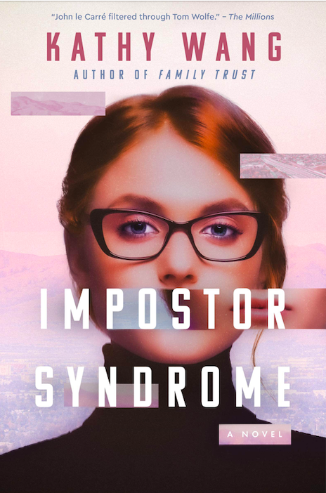 Imposter Syndrome, a white book cover, features an illustration white woman in a turtleneck and glasses