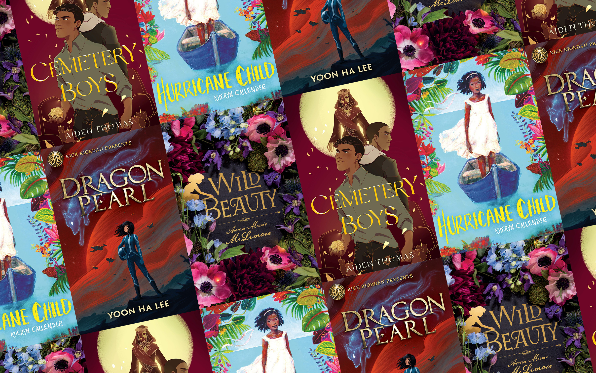 A collage of four books: Ninth House by Leigh Bardugo, Hurricane Child by Kacen Callender, Cemetery Boys by Aiden Thomas, Wild Beauty by Anna Marie McLemore.