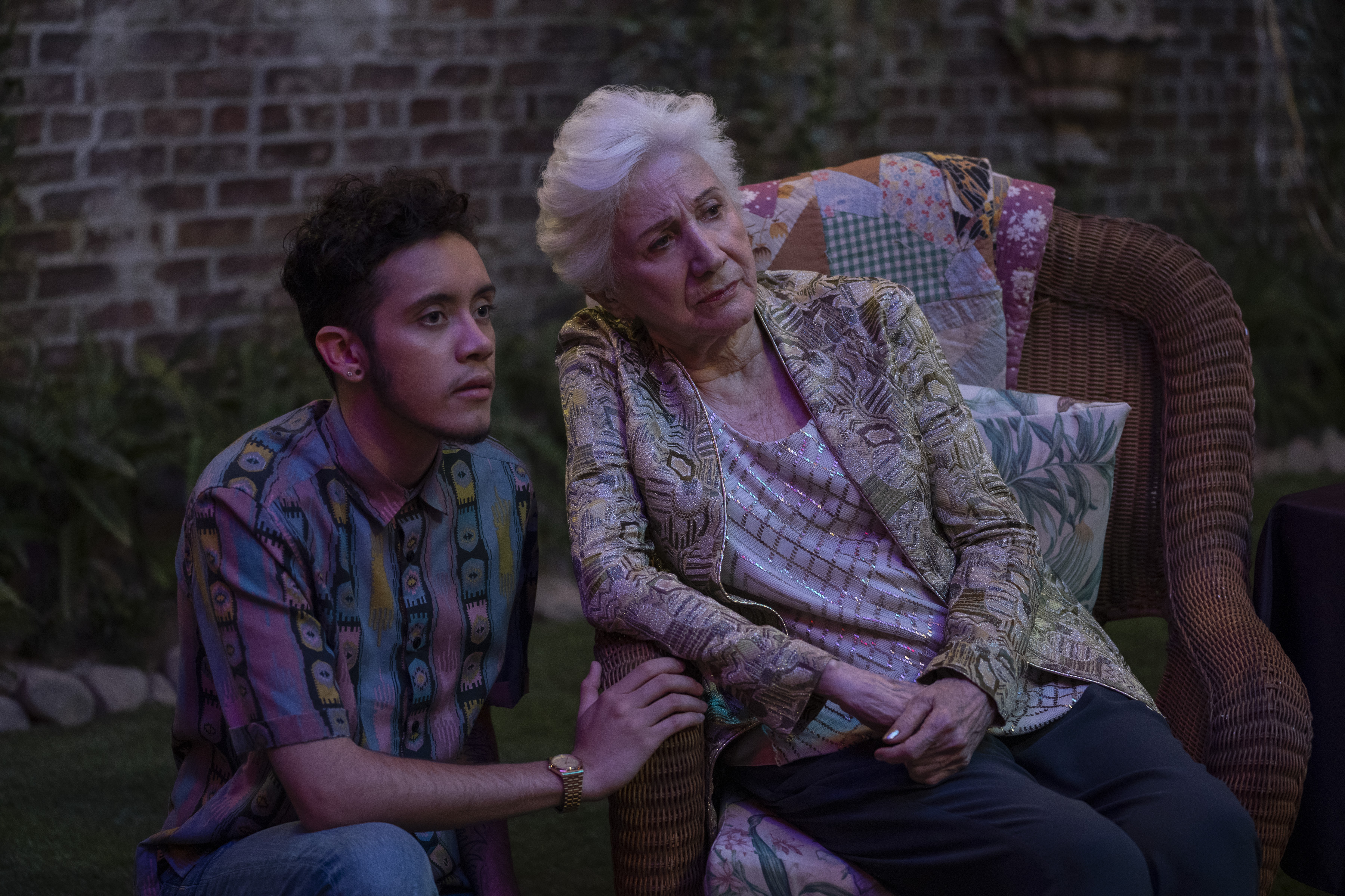A photo of Garcia as Jake Rodriguez and Olympia Dukakis as Anna Madrigal in Tales of the City.