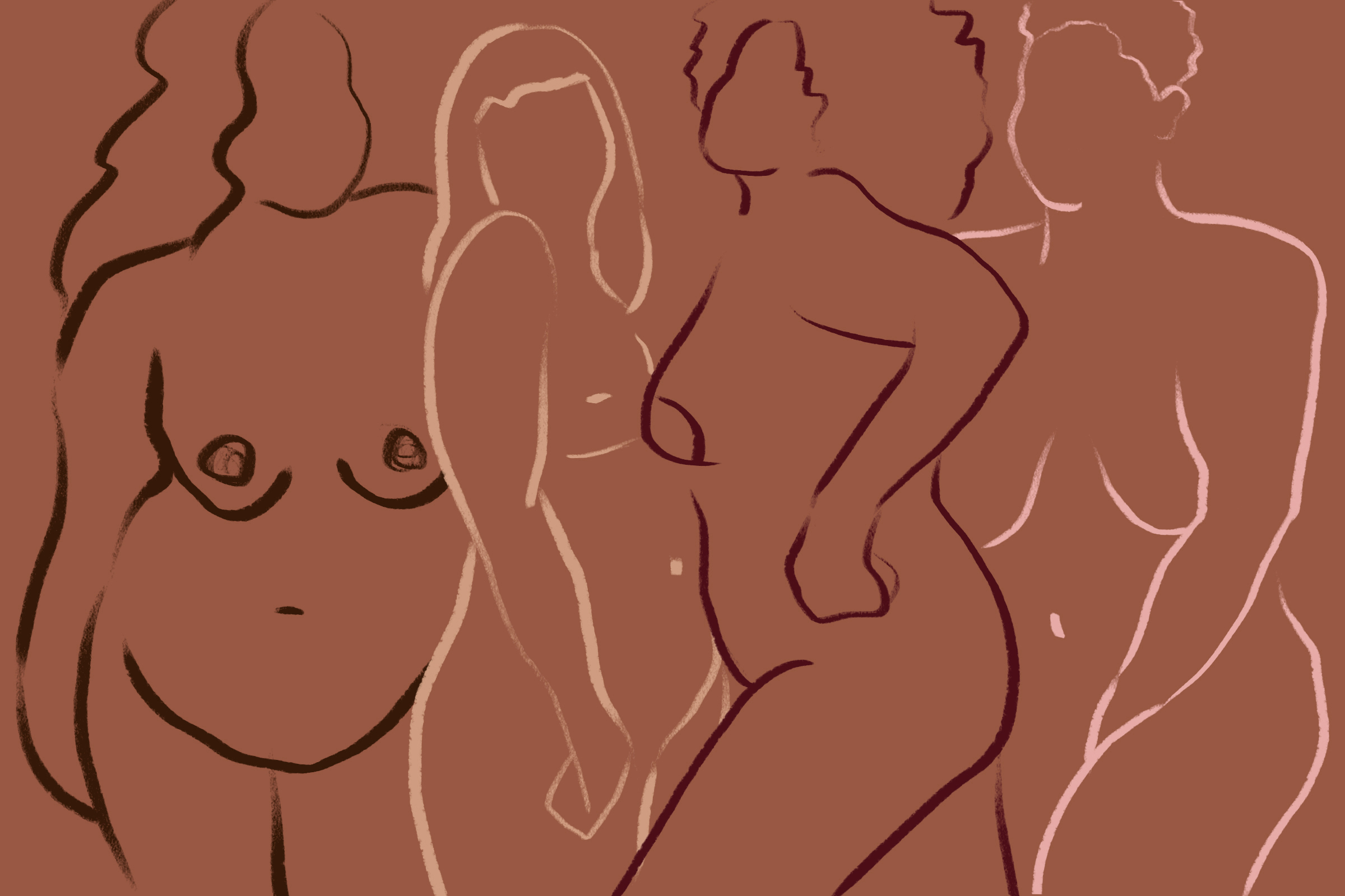 An illustration of a variety of bodies in neutral tones.