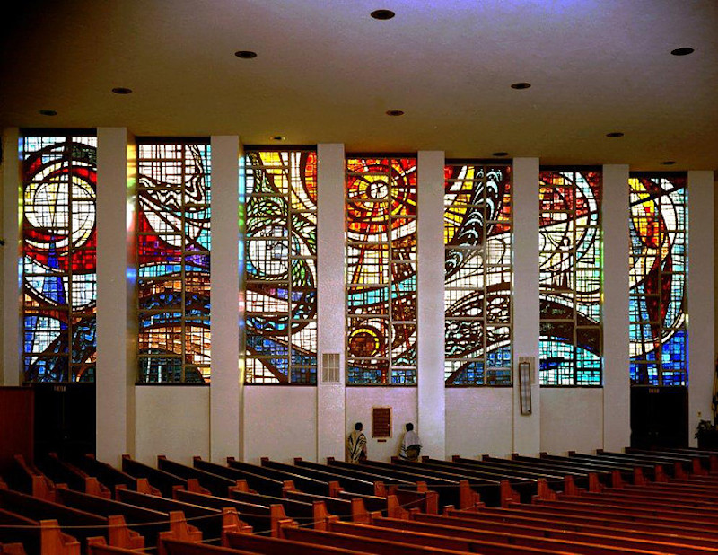 Stained glass at the Tree of Life Synagogue