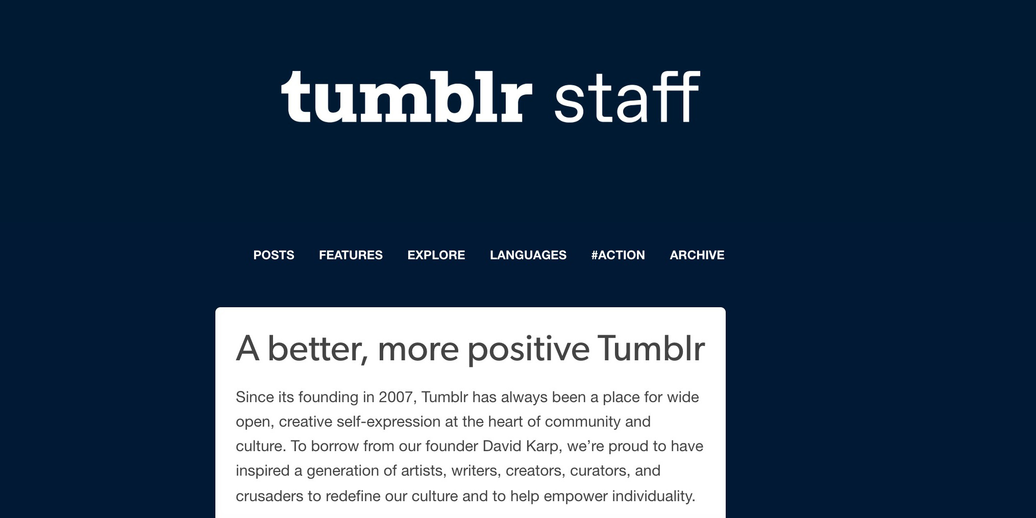 "A screenshot of a post from the Tumblr staff page with the title ""A better, more positive Tumblr"""