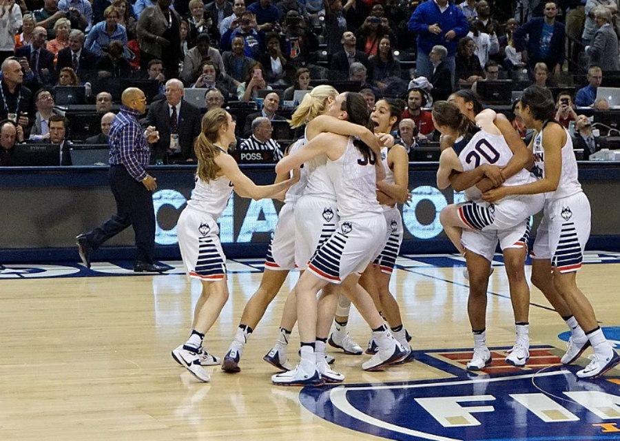 UConn Women's Basketball Team after Winning the 2016 NCAA Tournament