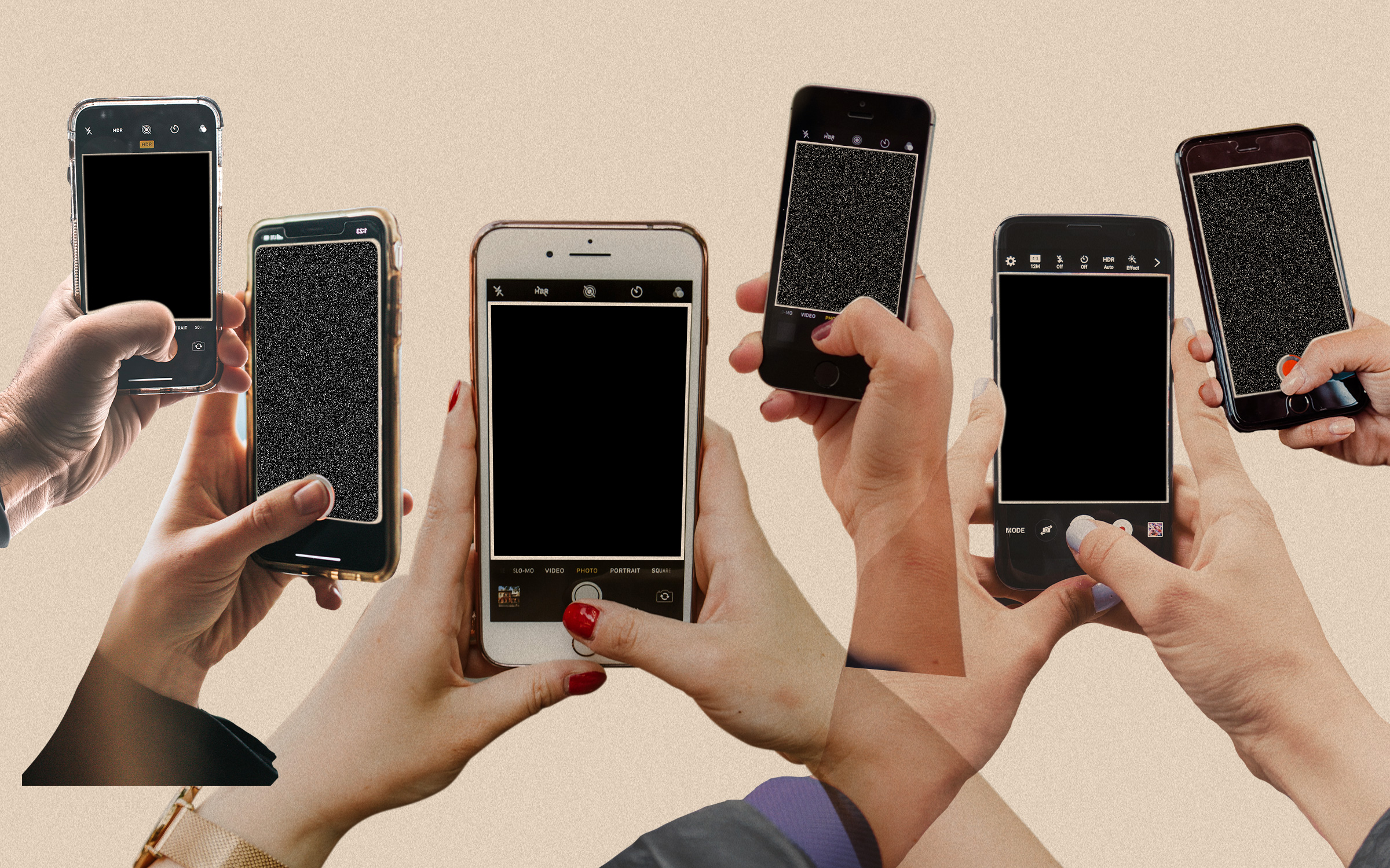 an illustration of three people holding phones with blank, black screens