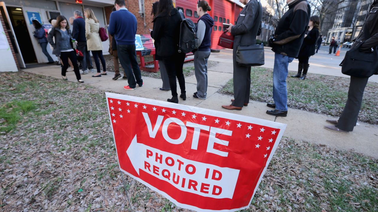 a red and white Vote Photo ID required sign on the grass in front of a line of voters