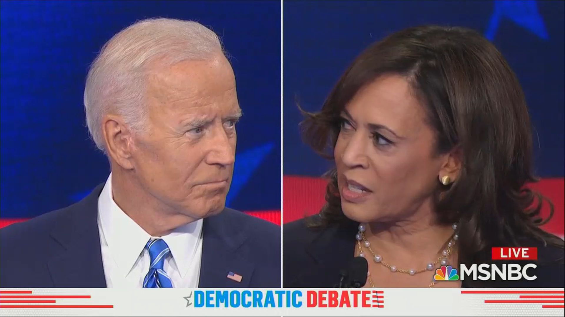 split-screen capture of Joe Biden and Kamala Harris from debate