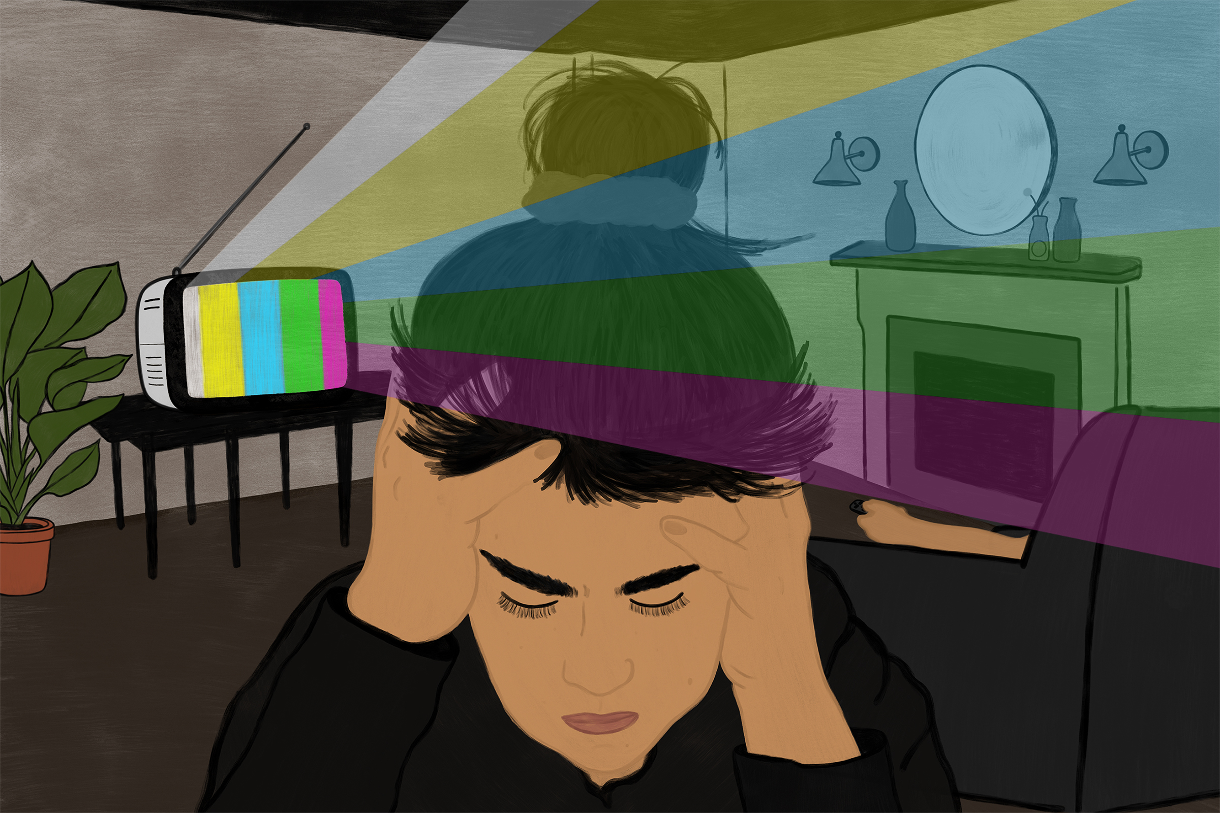 illustration of a light-skinned person with their black hair in a bun holding their head in their hands, eyes closed, as the television blares in the background