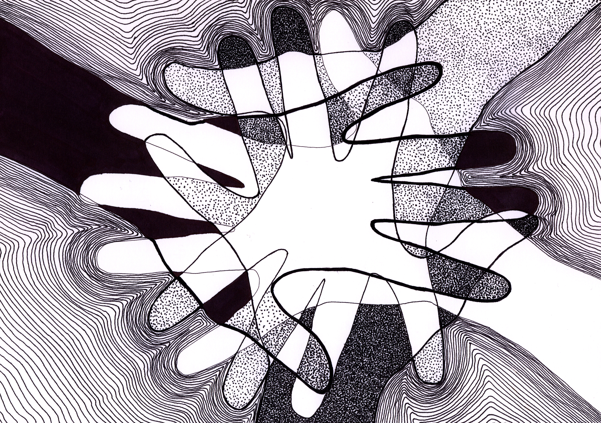 black and white line illustration of overlapping hands