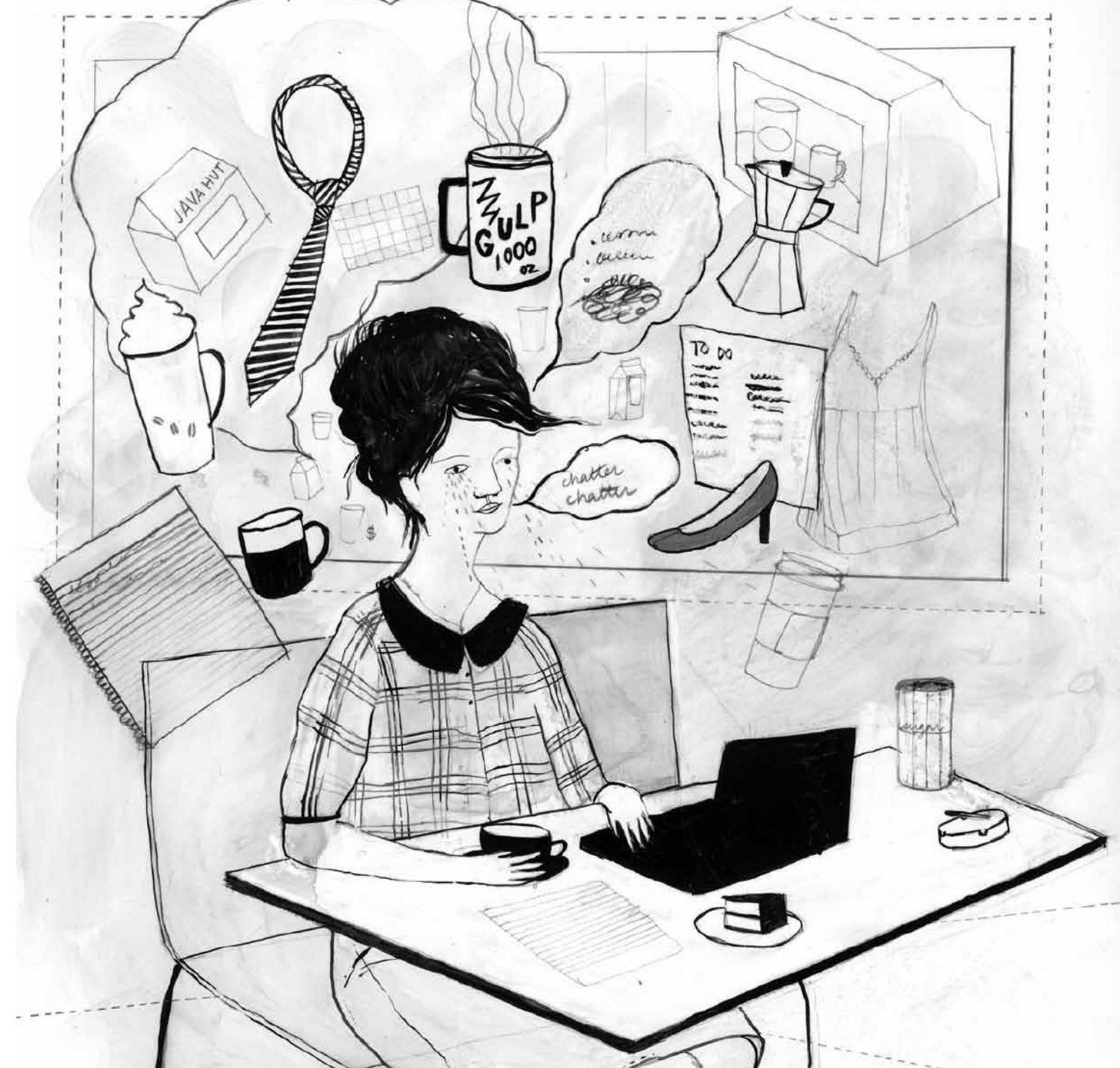 black and white illustration of a woman with tears on her face sitting at a desk and drinking coffee