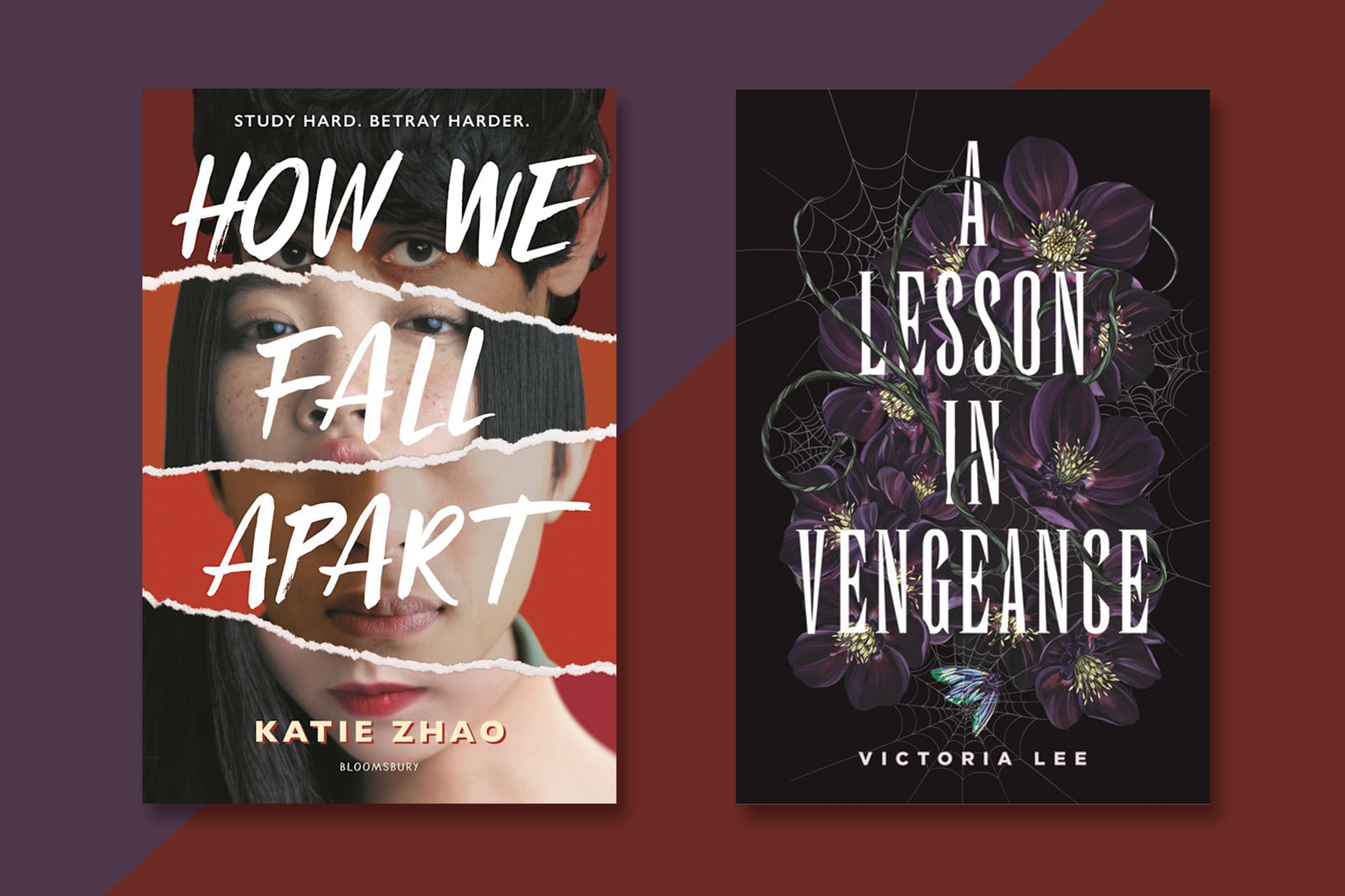 a collage of two book covers: How We Fall Apart, a photo of an Asian teenage girl with black hair split up into various pieces and A Lesson in Vengeance, a black book cover with an illustration of purple flowers and cobwebs
