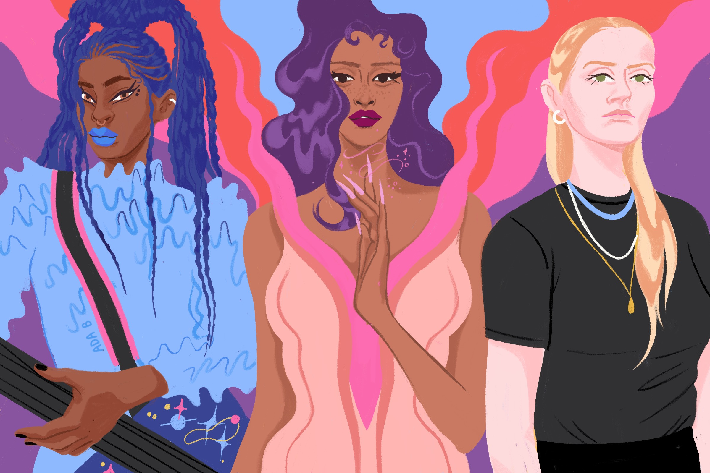 A colorful illustration of WILLOW, left, a Black woman with blue hair, Doja Cat, a Black woman with purple hair, and Charlotte Day Wilson, a white woman with blond hair.