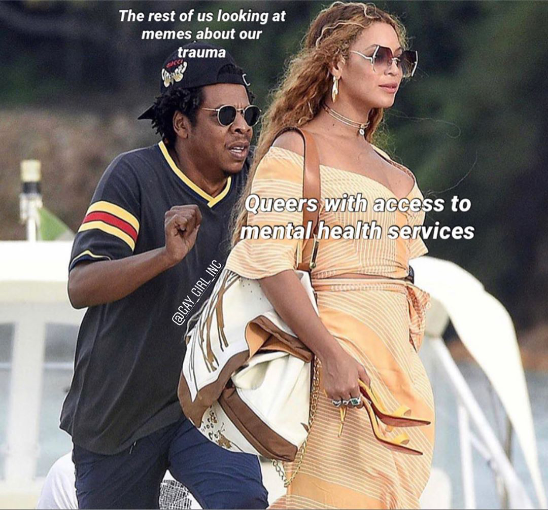 meme image by Instagram user @gay_girl_inc featuring Beyoncé walking onto a yacht and Jay-Z crouching behind her