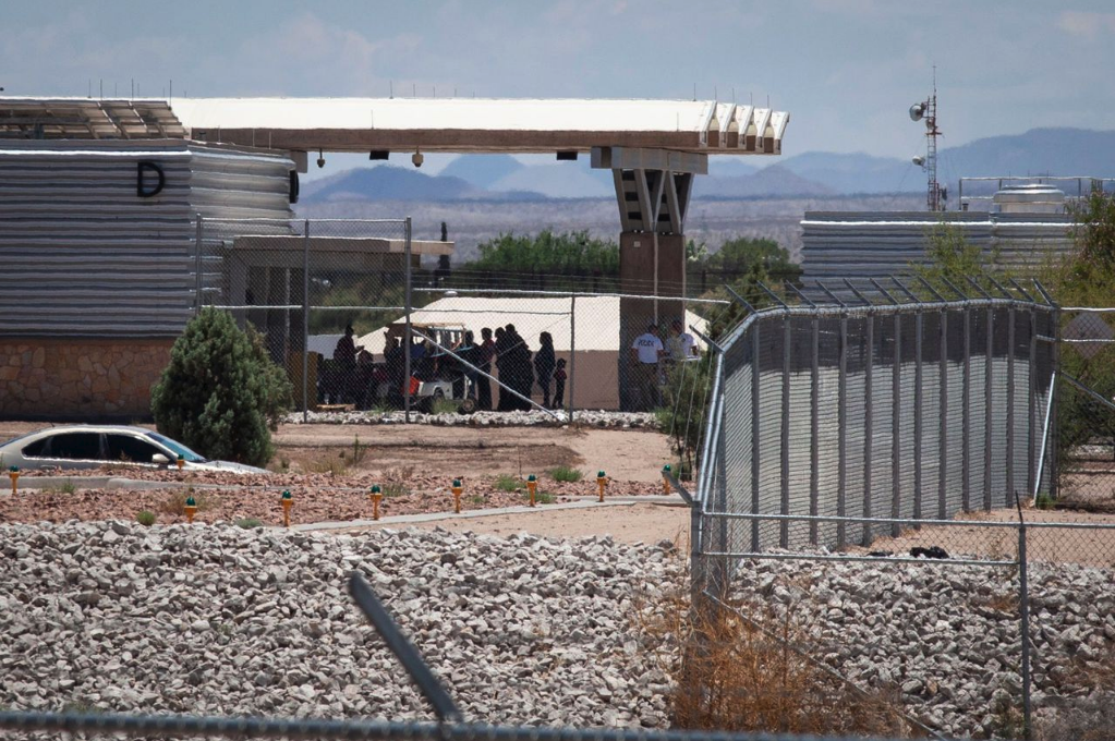 An image of a detention center for immigrants at the border.