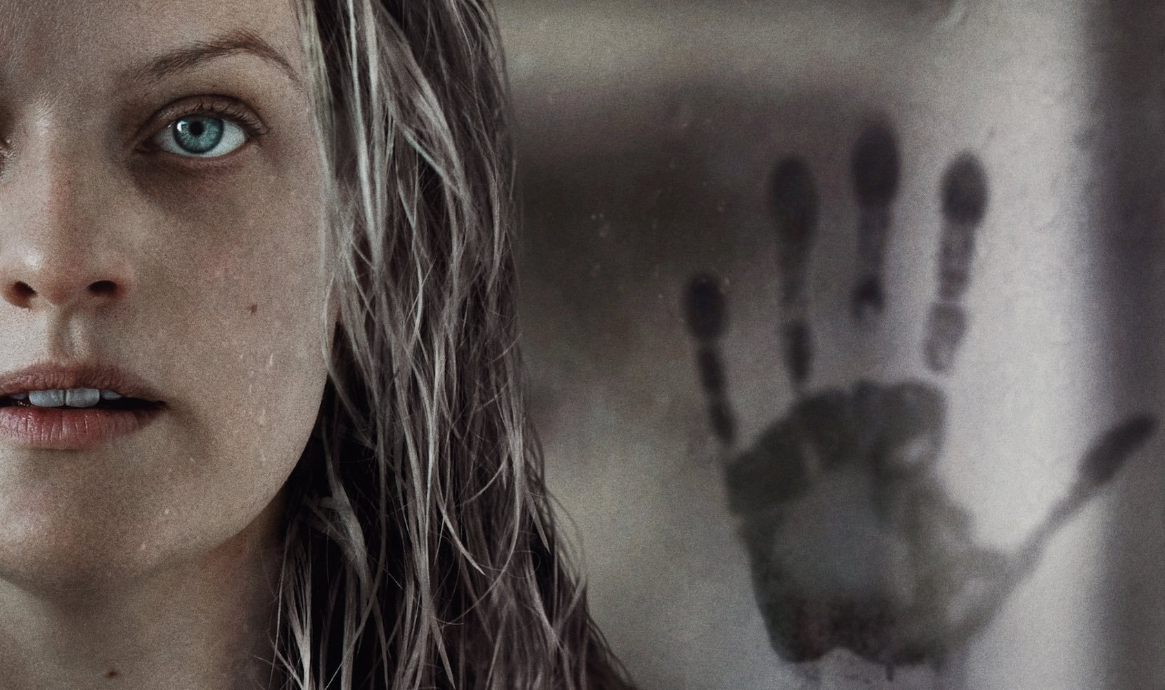 A white woman with stringy blond hair and huge blue eyes looks at the camera. Behind her, a handprint stains glass.
