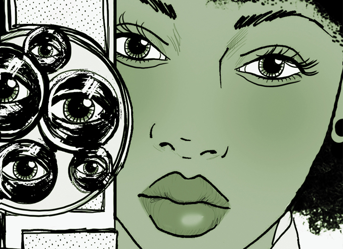 an illustration of a Black woman holding a camera