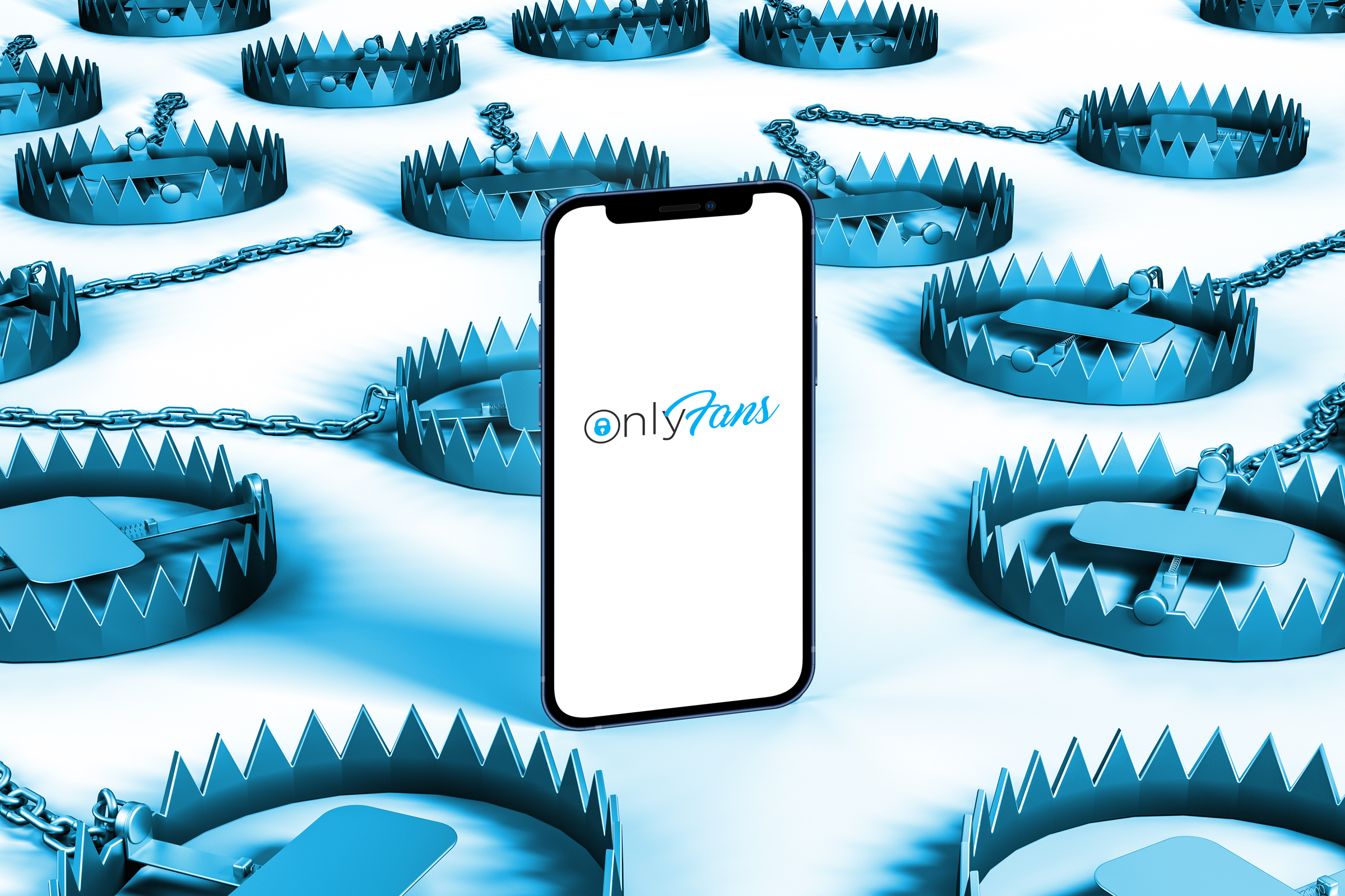 a picture of a cell phone with OnlyFans pulled up surrounded by icy blue bear traps