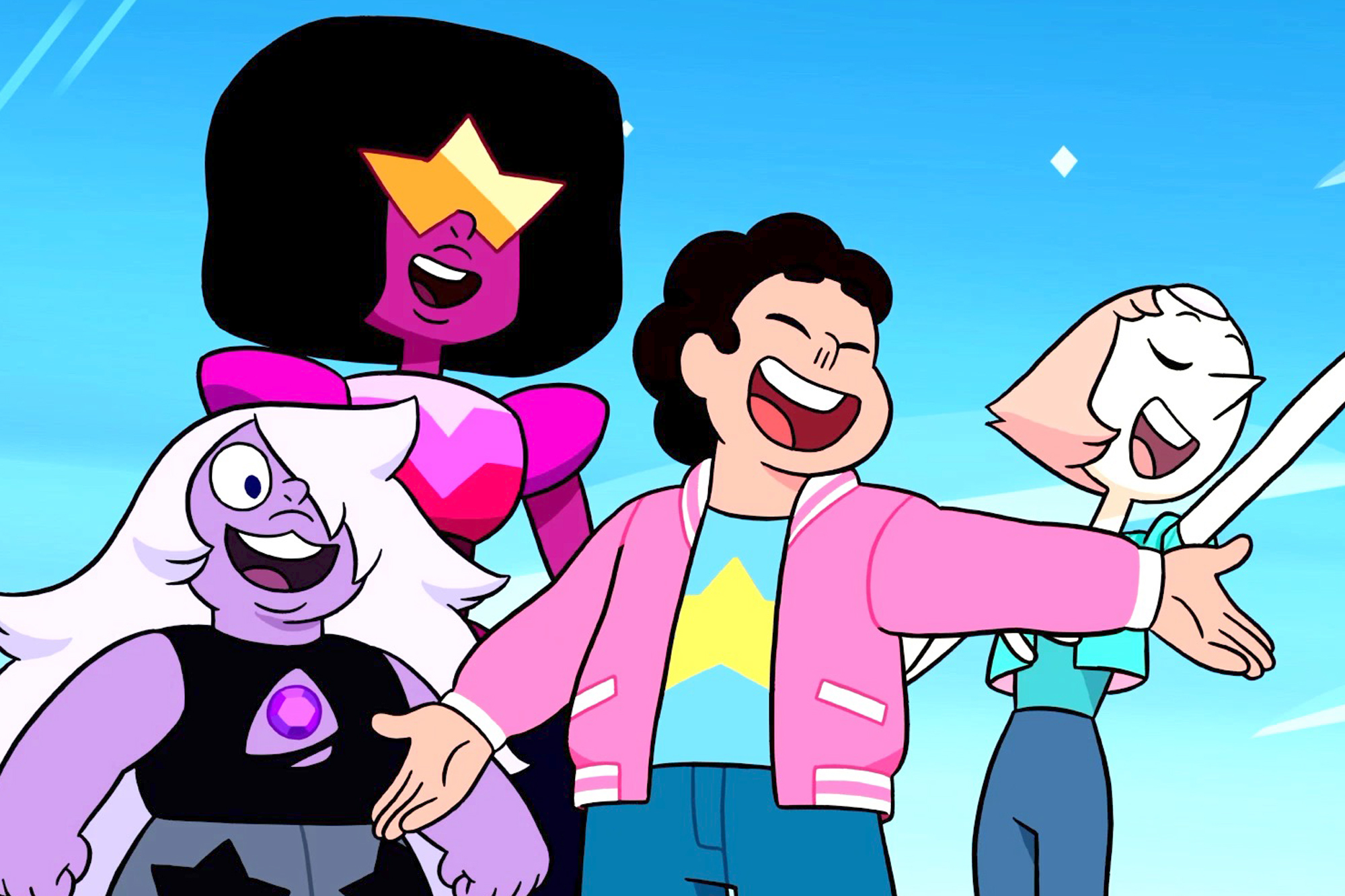 Characters from the animated show Steven Universe from left to right: Amethyst, Garnet, Steven, and Pearl.