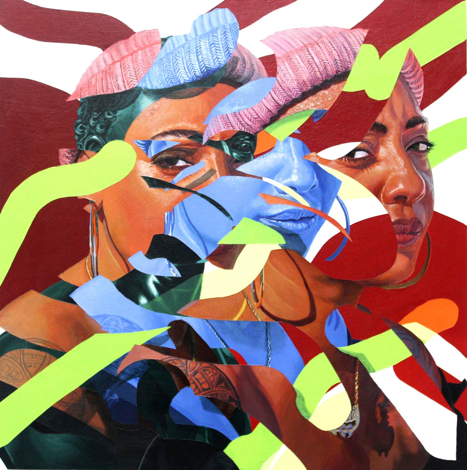 a colorful, fragmented painting of a Black femme with short hair, wearing a beanie