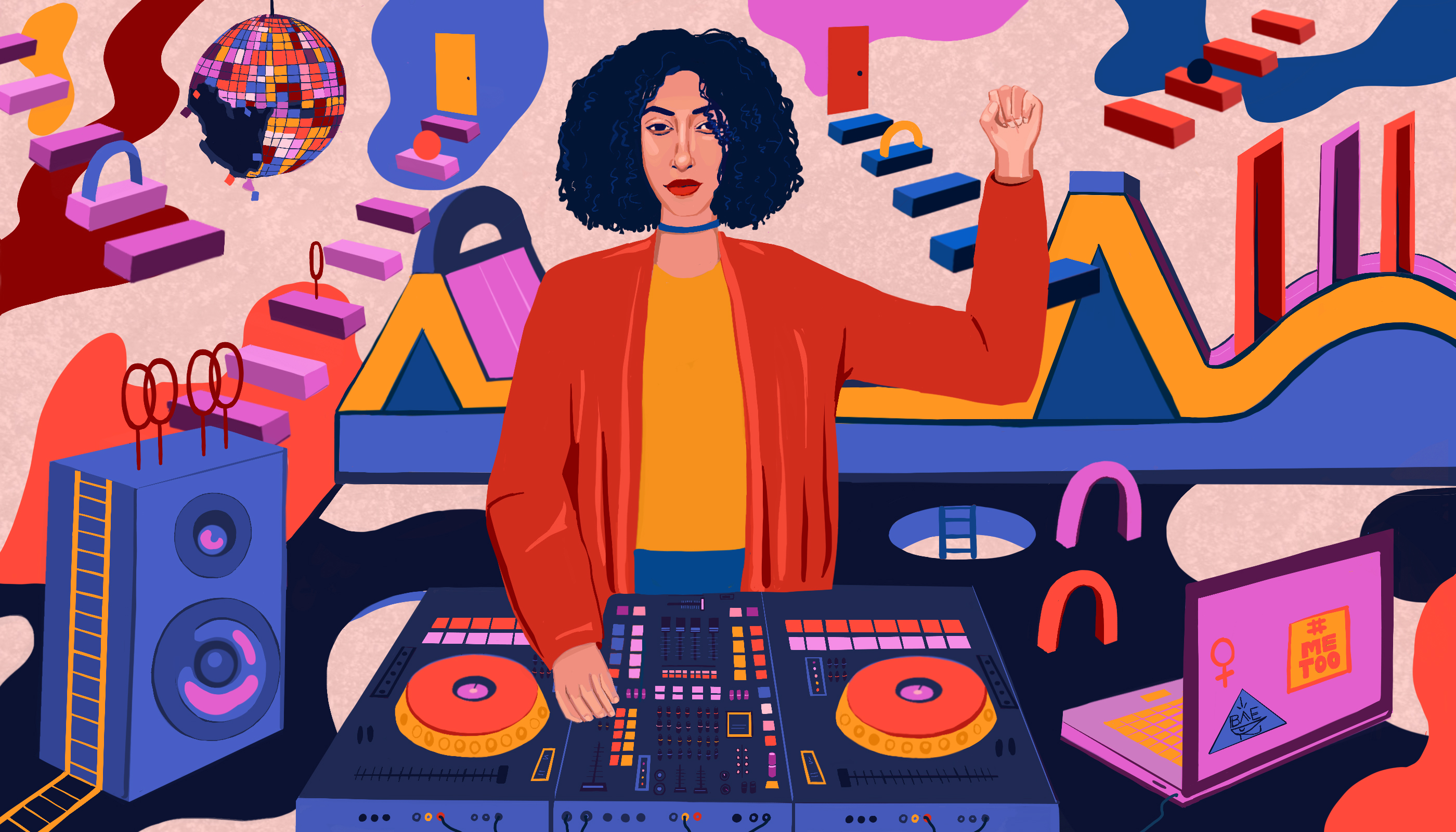 an illustration of a lightskinned woman with curly hair spinning records with a disco ball floating over her head