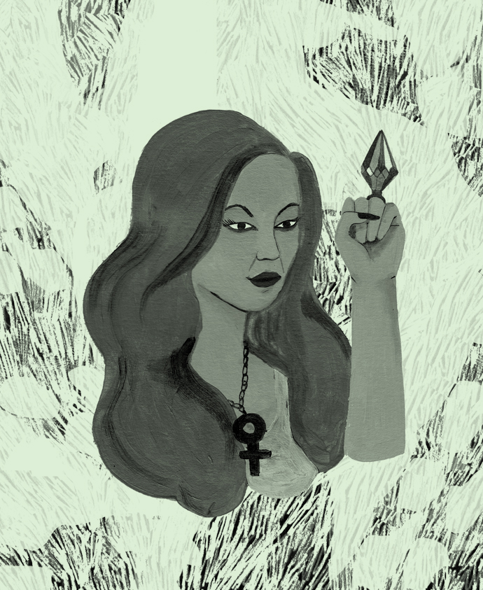 an illustration of a Black woman with long, flowing, blonde hair