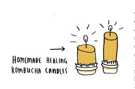 "Two illustrated candles with the text, ""Kombucha candles"""