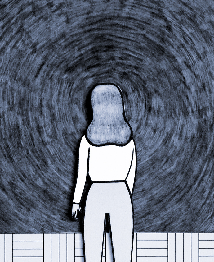 an illustration of a white woman staring into a blue void