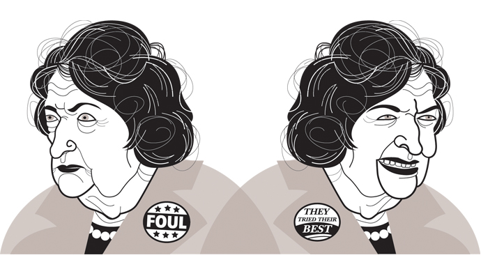 an illustration of an older, white woman with tight, brown curls