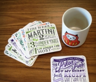 Drinking Wisdom Coaster Set, with quotes from Frida Kahlo, Nina Simone, Dorothy Parker, and Fran Lebowitz! | Bitch Media