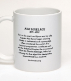 Text on the back of the Ada Lovelace coffee mug | Bitch Media