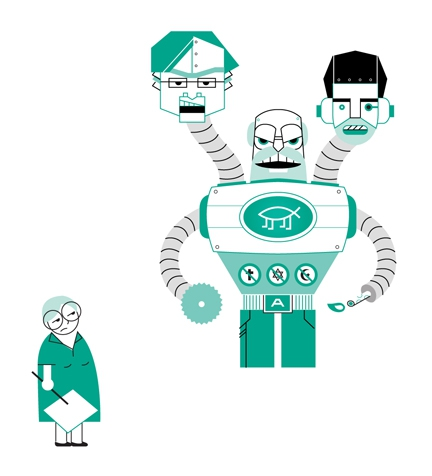 An evil looking robot with three heads, of Dawkins, Harris, and Dennett, towering in front of an exasperated tiny female atheist with a picket sign