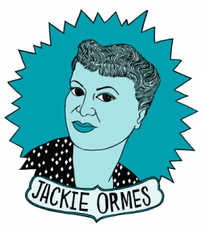 A picture of the Jackie Ormes illustration that graces the mugs at Bitchmart. Jackie Ormes, a young African American woman during the 40s, is portrayed on a turquoise background, her name on a banner beneath.