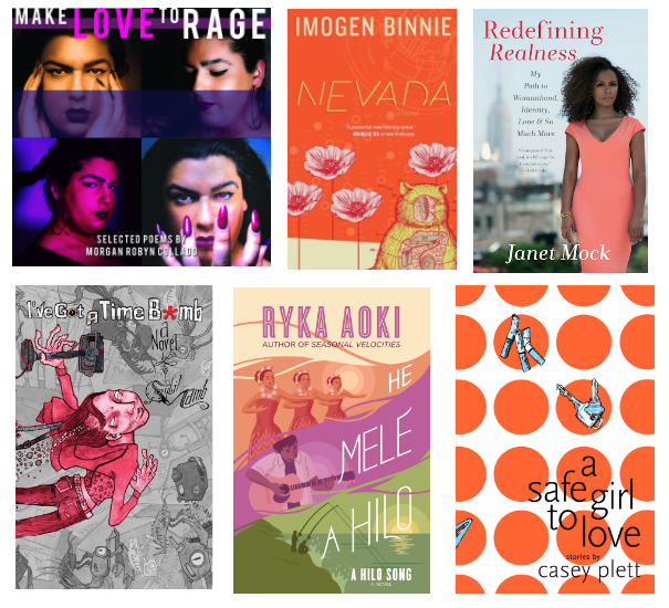 A grid of six book covers mentioned in the piece: Make Love to Rage, Nevada, Redefining Realness, I've Got a Time Bomb, He Mele A Hilo, and A Safe Girl to Love.