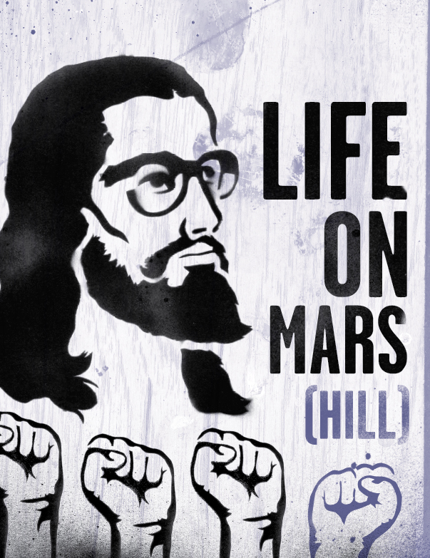a drawing of jesus that says life on mars hill