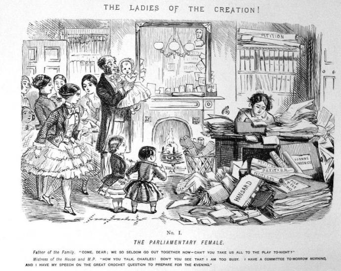 "a cartoon that depicts a woman writing at a desk amidst stacks of books and paper. Her husband says to her ""Come dear, we so seldom go out together now - can't you take us all to the play tonight?"" she says ""How you talk, Charles! Don't you see that I am too busy. I have a committee tomorrow morning and I have my speech on the great crochet question to prepare for the evening"""
