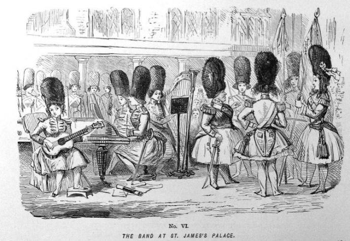 "A group of women in British royal guard hats stand around holding instruments. The caption is ""The band at St. James's place"""