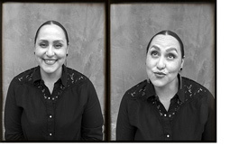 Two photobooth-style photos of Marisol in grayscale, one of her smiling and one silly one.