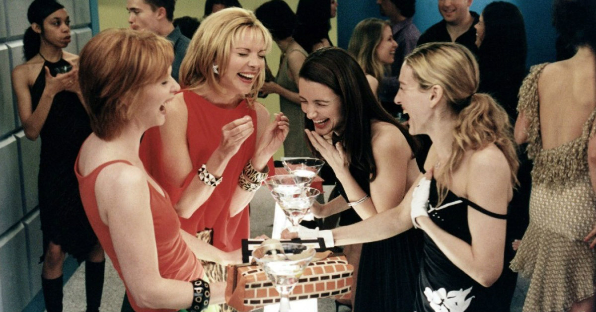 Cynthia Nixon as Miranda, Kim Cattrall as Samantha, Kristin Davis as Charlotte, and Sarah Jessica Parker as Carrie in Sex and the City