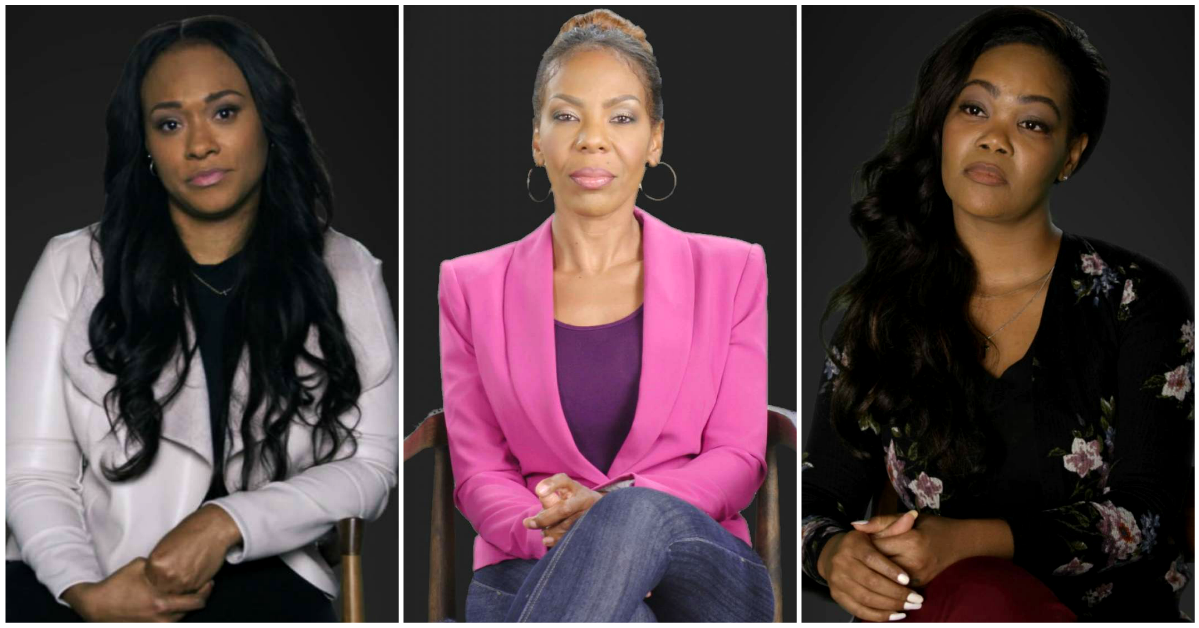 three Black women sitting in chairs talking to a camera