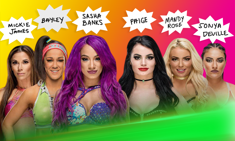 WWE Divas Mickie James, Bayley, Sasha Banks, Paige, Mandy Rose, and Sonya Deville