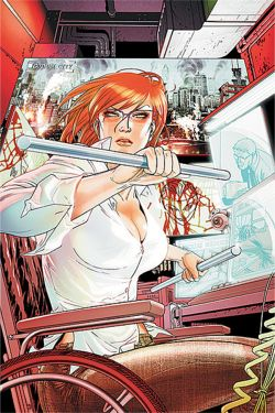 A comic illustration of Oracle. She is a busty redhead holding a metal pipe in each hand. Whe is sitting in a desk and sitting in a wheelchair.