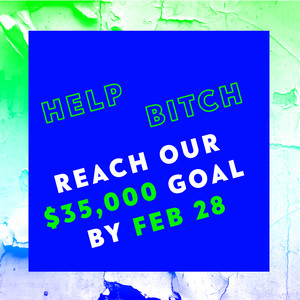 "thumbnail image that reads ""Help Bitch reach our $35,000 goal by Feb 28"""