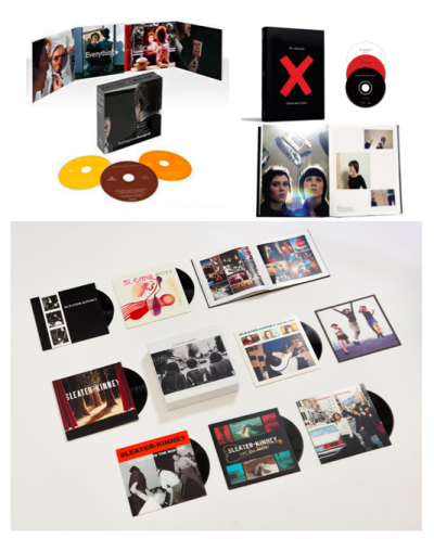 An image of the David Bowie box set, Tegan and Sara boxset, and Sleater Kinney boxset. They each show the different packages for the collections.