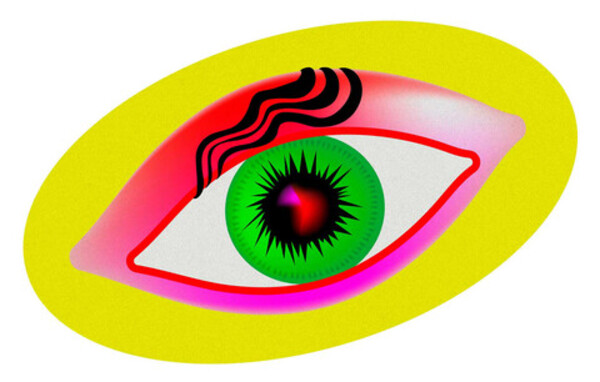 illustration of a colorful eye in the shape of a pill