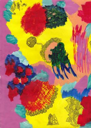 art work made by anna petrisko: colorful yellow and pink paint and line drawings make an abstract piece